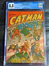 CATMAN COMICS #19 CGC FN- 5.5; OW; classic WWII Hitler, Tojo, Mussolini cvr!