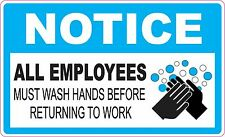 NOTICE ALL EMPLOYEES MUST WASH HANDS BEFORE RETURNING TO WORK STICKER DECAL