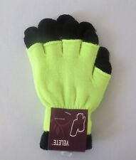 YELETE Women's Double Layer Neon Solid Color Winter Gloves