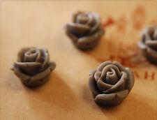 10x Resin Perlen / Cabochons Blumen zum Kleben 12mm grau tm335