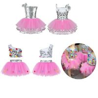 Kids Girls Ballet Dress Modern Jazz Tutu Costume Party Sequins Dance Wear Outfit