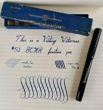 Vintage Waterman 52 BCHR Fountain Pen, Boxed - 14ct Gold Super Flex Nib