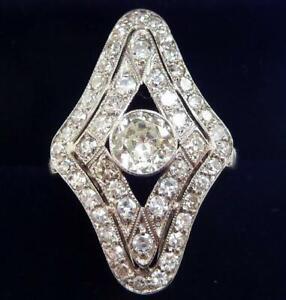 Stunning platinum art deco 1.63ct Diamond cluster marquise ring