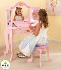 Kidkraft Princess Vanity Unit | Girls Wooden Dressing Table and Stool