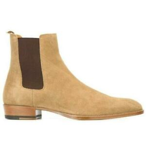 Mens Real Leather Formal Shoes British Ankle Boots Chelsea boots Elastic Pull On