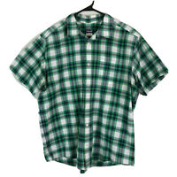 Patagonia Button Up Shirt Mens Large Green Plaid Short Sleeve Cotton Polyester