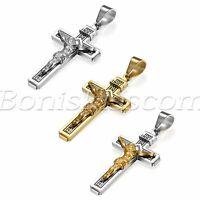 Men's Catholic Jesus Christ Religious Cross Crucifix Pendant Necklace Chain Gift