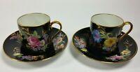 French Black Floral Ancienne Fabrique Royale Porcelain LIMOGES Tea Cup PAIR