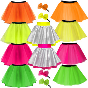 Kids Costume RETRO 80's Fancy Dress NEON TUTU & Skirts UK ALL SIZES