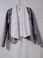 CACHE Silver Metallic Soft Faux Fur Lined Open Bolero Jacket Sz SM NWT