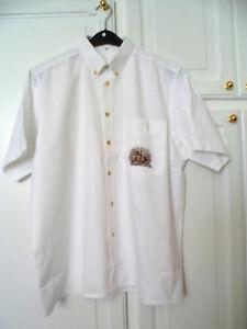 Herren Trachten Hemd kurzarm weiß   Gr 42