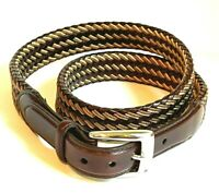 Brighton Men's Brown Leather Dress Belt Woven Accents Size 38 Brown 2-Tone