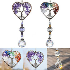 Feng Shui Hanging Crystal Suncatcher Life Tree Stone Beads Prism Pendant Decor