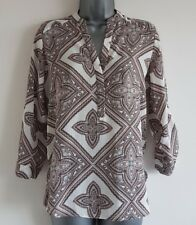 Size 6 Top DOROTHY PERKINS White Brown Excellent Condition Women's Floaty