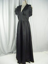 FERRALI by PHILLIPE Vtg 60s Black Halter Ruffle Party Dress-Waist 27/XS-S