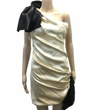 $1225 Dolce & Gabbana Women'S Gold Black Bow Tie One Shoulder Sheath Dress 2/38