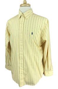 Ralph Lauren Polo Men's Classic Fit Shirt Yellow Stripe Size 16 32/33