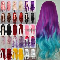 80cm ~100cm Halloween Cosplay Party Fashion Wig heat resistant Hair Full Wigs hd