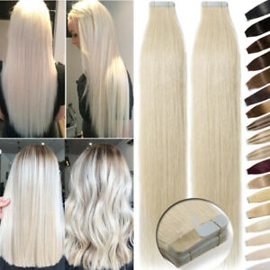 Thick 150G Tape In Remy Human Hair Extensions Full Head Skin Weft Blonde Ombre A