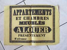 AFFICHE ANCIENNE 1810 appartements et chambres meublees a louer presentement pri