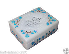 """4""""x3"""" Marble Jewelry Ring Box Turquoise Inlaid Mosaic Floral Wedding Gifts H091"""