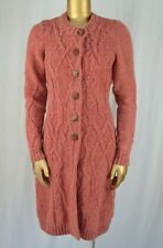 ANTHROPOLOGIE FAR AWAY FROM CLOSE Cabled Sweater Coat M Heathered Red