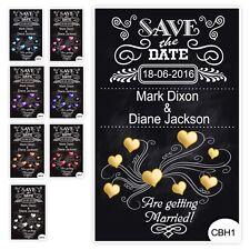 50 Save the Date Wedding Magnet Cards+ Envelopes Vintage Chalkboard Hearts