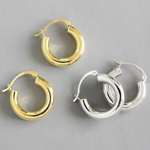 2.4cm Huggie Hoop Earrings Chunky Gold Silver Daily Jewellery Women Girls Gift