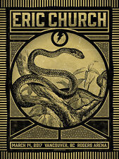 Eric Church Vancouver BC 3/14/2017 Poster Signed & Numbered #/35 Rare!!