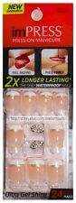 KISS imPRESS Press-On PICK ME 24 Nails WHITE TIP+LIPS CHARM Rhinestone #56889 1a