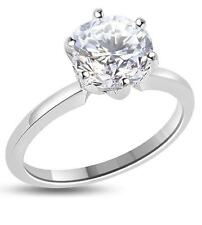 3 Ct VVS1 D VVS1 Solitaire Engagement Wedding Ring Round 14K Solid White Gold