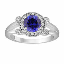 Platinum Blue Sapphire Engagement Ring 1.12 Carat With Side Diamonds Unique Halo