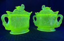 Westmoreland Iridescent Vaseline Glass Swan Covered Sugar And Creamer Dish Bowl