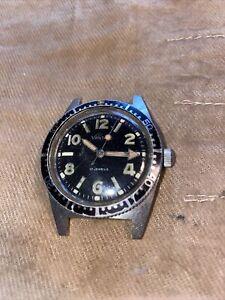 Vintage Vantage 17j Diver Watch Black Bezel - 1960s Or 1970's - Non Running!!