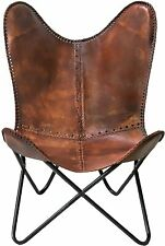 Leather Handmade Butterfly Chair Seat Folding Accent Modern Sling Lounge Vintage