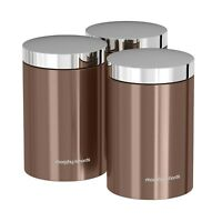 Morphy Richards Copper Set of 3 Kitchen Storage Tea Coffee Sugar Herbs Canisters