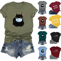 Women's O-neck Cartoon Cat Mask Printed Short Sleeve O-Neck T-shirt Blouses Tops