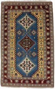Blue Geometric Tribal Design 5X8 Hand-Knotted Kazak Oriental Rug Decor Carpet