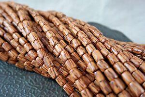 6mm x 10mm Natural Coconut Palmwood Tube Premium Wood Beads 40 beads per pack