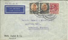 Thailand Sc#212(x2)#210 Bangkok 11/1/39 Airmail via KLM to England, flap missing