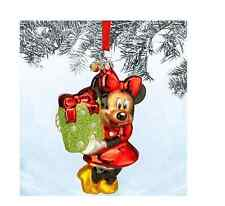 DISNEY STORE 2014 MINNIE MOUSE GLASS SKETCHBOOK CHRISTMAS TREE ORNAMENT NEW IN B