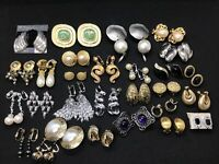 Vtg Estate 28 Clip On Screw Back Earring Lot Napier Coro Coventry Monet Enamel