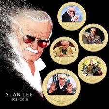 WR 5PCS RIP Stan Lee Excelsior Gold Commemorative Coin Marvel Comics Gift Set
