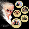 WR 5PCS RIP Stan Lee Excelsior Gold Commemorative Coin Marvel Comics Gift Set