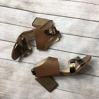 Isola Wood Block Heel Slingback Leather Sandals Heels Metallic 9.5 Womens