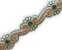 """1.5 Yards Beaded Trim Delicate Green Flowers Gold Bullion & Beads White 1"""" Wide"""