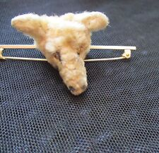 fur with tiny glass eyes. Teddy bear/dog brooch, 1930s. Plush