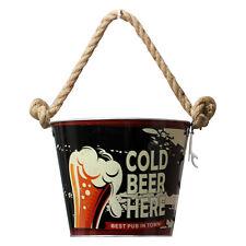 Black Metal Beer Cooler Cooling Ice Bucket Bottle Opener Drink Holder Container