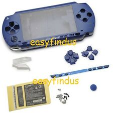 For PSP 1000 Full Housing Shell umd door Case barcode button replacement blue