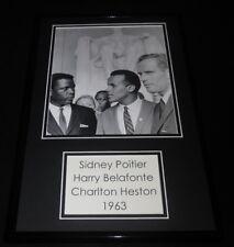 Sidney Poitier Harry Belafonte & Charlton Heston 1963 Framed 11x17 Photo Display